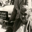 Contactee Dana Howard at a 1954 flying saucer convention at Giant Rock in the California desert