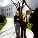 Director Robert Stone and broadcast journalist Danial Schorr prepare to shoot scene at White House