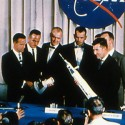 Original Mercury Seven astronauts presented at a press conference 1959